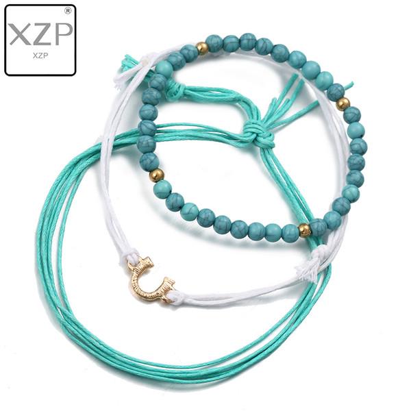 XZP BOHO 3 pezzi / set perline turchesi multistrato stretch donne Bracciale elastico per catene bracciale bangle per donne multi strato bangle