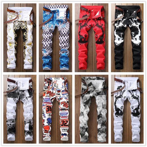 Personnalité Hommes Noir Blanc Rouge Casual Pantalon Jeans Pantalon De Jogging Designer De Mode Slim Zipper Plaid 3D Imprimer Pantalon Nightclub Trends Trouse