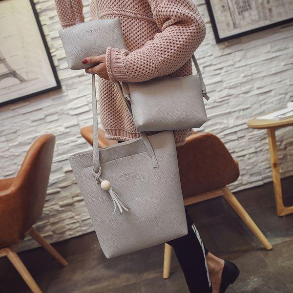 2009 Litchi patrón cubo para mujer paquete de borlas de cuentas de madera de tres piezas de un bolso de hombro inclinado a través de bolso