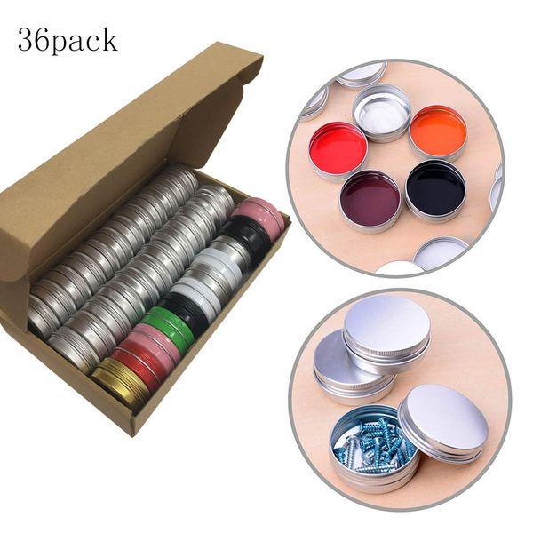36 Pack 1Oz/30ml Aluminum Tin Jars Cosmetic Sample Metal Tins Empty Container Bulk Round Pot Screw Cap Lid Small Ounce