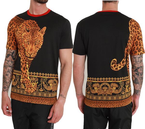 2019 T-shirt Léopard Pour Hommes Luxe Design Contraste Couleur Belle Qualité Populaire Conception Top Hommes Tee