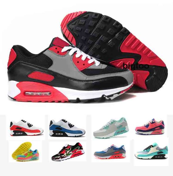 Cheap classic 90 Men women Running Shoes Black Red White Sports Trainer Air Cushion Surface Breathable Sports Shoes 36-45
