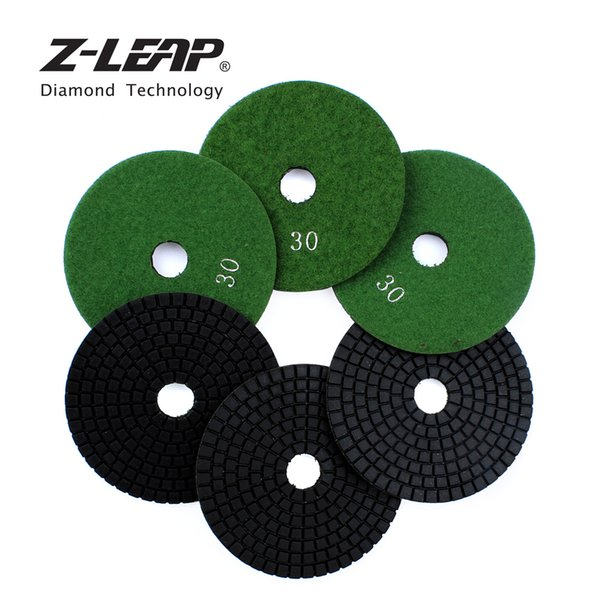 best selling Z-LEAP 6pcs 4 Inch Diamond Polishing Pads Grit #30 Grinding Wheel Concrete Marble Granite Stone Sanding Disc Polishing Wheel