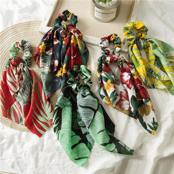 INS Summer Scarf Bow Hair Scrunchies Bow Women Accessories Hair Bands Ties Scrunchie Ponytail Holder Rubber Rope Decoration Big Long Bow
