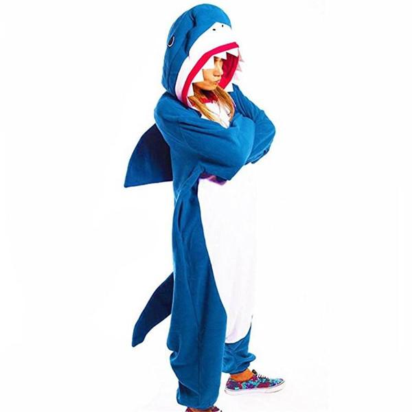 Adult Shark Kigurumi Onesie Anime Fleece Cosplay Costume Blue Pyjamas Halloween Carnival Jumpsuit Loose Masquerade Outfit