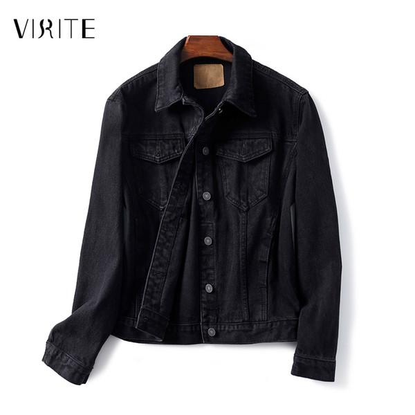 Großhandel VIRITE Boyfriend Jacken Denim Beiläufige Lose Jean Jacke Taschen Frühling Herbst Schwarz Frauen Mantel Weibliche Outwear Basic Coat Von