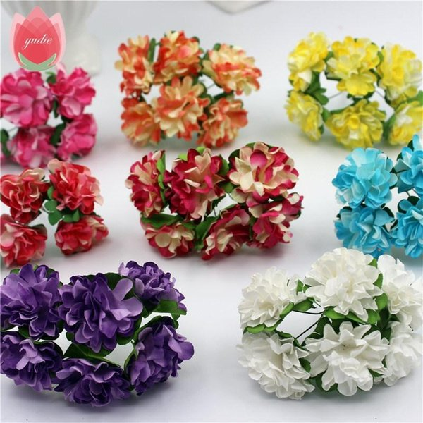 Wholesale- 12pcs/lot 3cm Valentine Gift MIni Artificial Paper Rose Flower Bouquet Wedding Decor Handmade Scrapbooking Craft Supplies