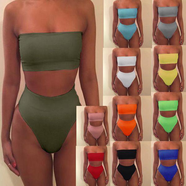 best selling Strapless Bikini Sexy bikinis women Set Off Shoulder Solid Bandage Push Up Padded Swimwear Swimsuit Beachwear Pluz Size MMA1673