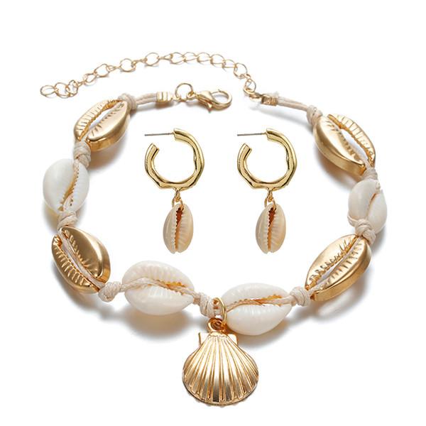 Hot Fashion Sea Shell Women EArrings+ANklet set Gold Color Trendy Statement Drop Dangle Earrings For Women Beach Jewelry Set