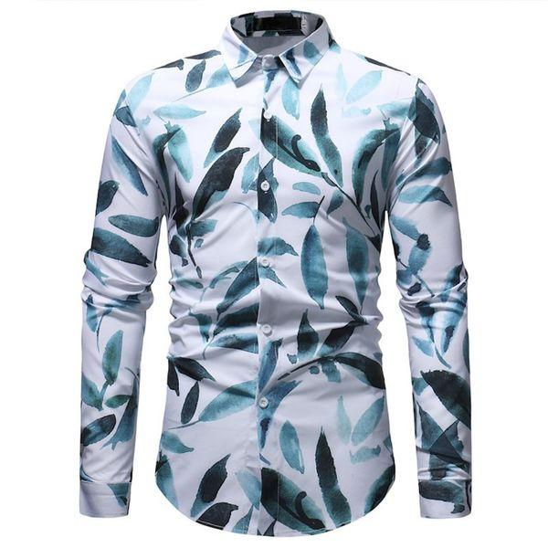 Leaves Printed Men Blouse Elegant Male Casual Shirts 3XL Korean Slim Tops Long Sleeve Spring Wear Blusa Leaf Style Man Shirt New
