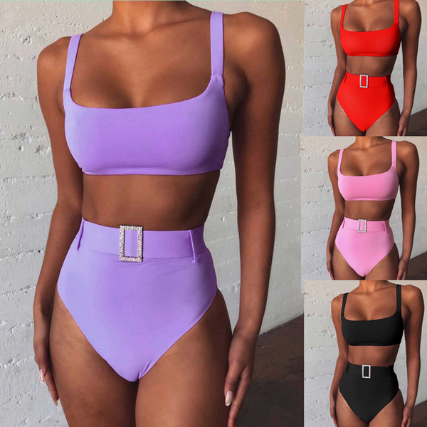 best selling Bikinis Set High Wasit Bottom Swimsuit Two Pieces With Belt Swimwear Crop Top Bathing Suit