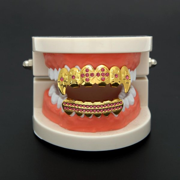 Couleur strass dents Grillz comestible cire d'or Grillz fixe dents personnalité Hip Hop cool Bijoux Halloween Vampire Casquettes Teeth