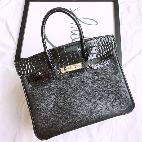 Genuine Leather Crocodile with Litchi Pattern Shoulder Bag Black Women Handbags Ladies Hand Bags Messenger Bags Bolsa Feminina