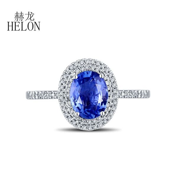 helon solid 18k white gold au750 certified oval 1.1ct natural sapphire & diamonds engagement ring women wedding gemstone jewelry, Golden;silver