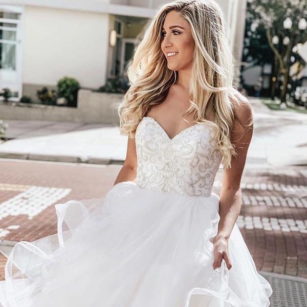 Sweetheart A-line Wedding Dress Delicate Beaded Bridal Dress Zipper Tiers Skirt Country Wedding Bride Dresses Chapel Train Vestidos de novia