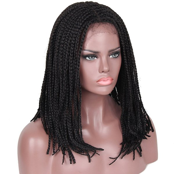 Short Braided Lace Wigs Heat Resistant Short Bob Synthetic Hair Wig Box Micro Braid Lace Front African American Braided Wigs