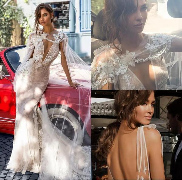 Elihav Sasson 2020 Nouvelle Robe De Mariée Sirène Sexy V Cou Profond Illusion Appliques Robe De Mariée En Dentelle Dos nu Avec Une Robe De Mariée