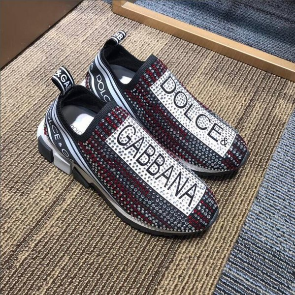 HOT Branded Men Fabric Stretch Jersey Sorrento Slip-on Designer Lady Two-tone Rubber Micro Sole Breathable Casual Shoes With Original Box 46