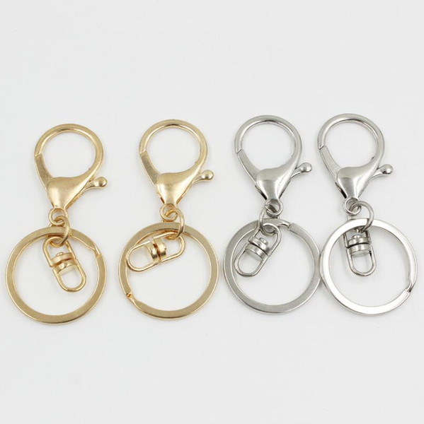 2018 Silver/Gold Biger Lobster Clasp Tone Key Chains & Key Rings Round Split keychain Car Key Rings Blank Metal Keychains LX5938