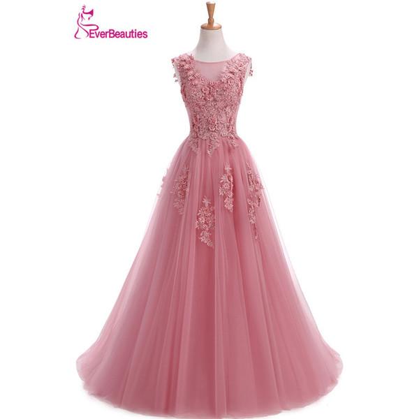 Robe De Soiree Evening Dresses Long Plus Size Tulle Prom Lace Up Beaded Gown Vestidos De Festa Elie Saab Abendkleider 2019 Abiye
