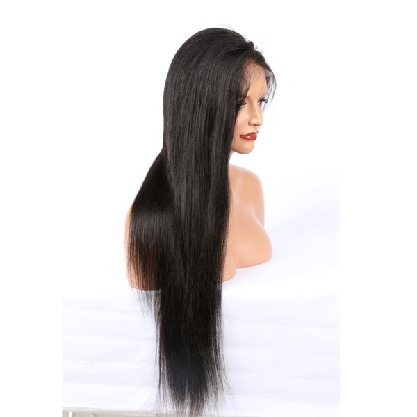 Glueless straight human hair Wigs For Black Women remy hair wigs with baby hair natural color