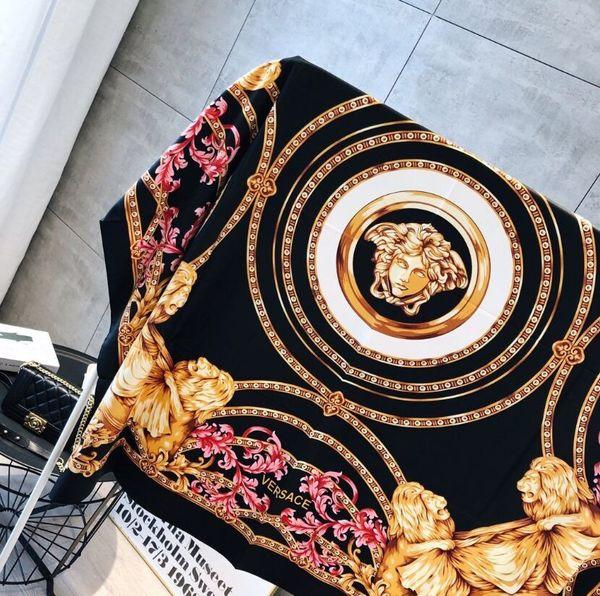 Luxury Designer Silk scarf for Women 2019 Spring Brand Floral Flower Long Scarves size 130x130Cm Shawls gift 77