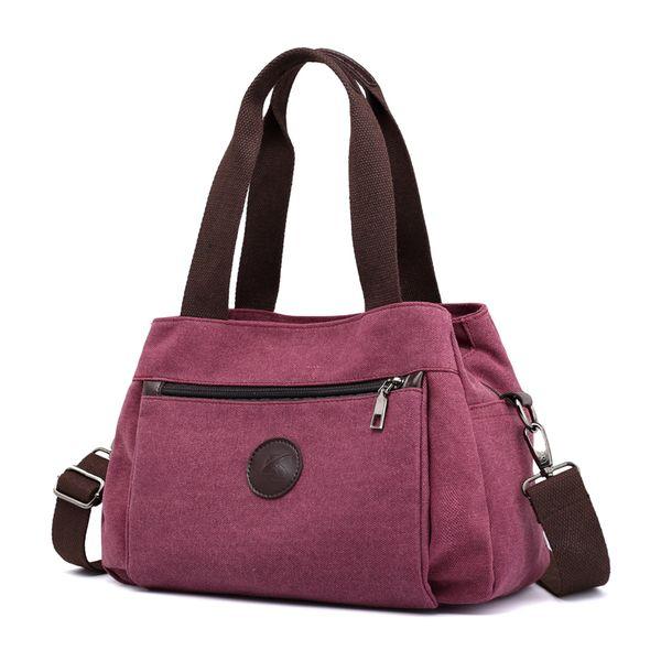 Women's Canvas Handbags Female Hobos Single Shoulder Bags Ladies Totes Bolsas Woman Crossbody Pack Vintage Solid Multi-pocket Y19061301