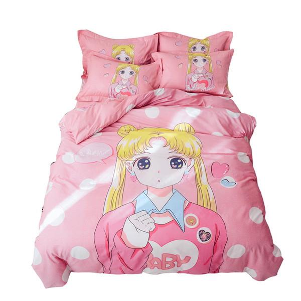 Cartoon Sailor Moon Bedding Set Twin Queen Size Cotton Duvet Cover Flat Sheet Kids Teen Boy and Girls Dormitory Bedroom Textile