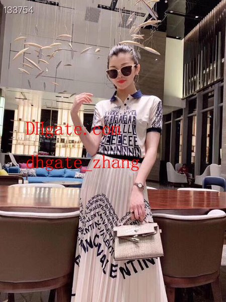 Women Two-piece Suits Letter printed short sleeve Women's tops + Over The Knee Classic pattern Long Skirt jupe Summer New Skirt Suit off-3