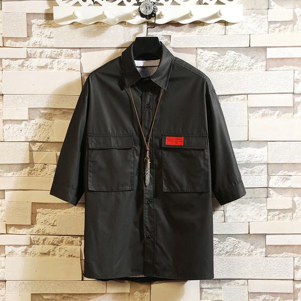 Men's Shirts Linen Cotton Three Quater Sleeve Solid Shirts Men Fashion Flax Shirt Linen Autumn Men Clothing size M-3XL