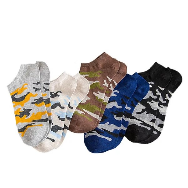 Wholesale Spring And Summer New Cotton Men's Trend Boat Socks Camouflage Fashion Sports Socks Free Shiping