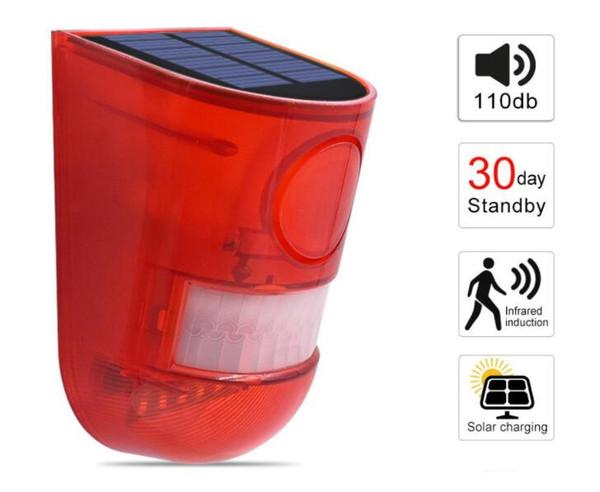 auf lager Solar Alarm Lampe 110db Warnton 6led Rotlicht IP65 Wasserdichter Bewegungssensor Warnleuchten Für Lager Wandleuchte