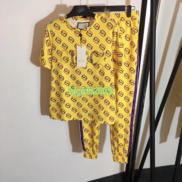 High end mulheres menina t-shirt carta impressão listrado manga curta tee top moletom cordão jogging calças legging moda design conjunto de luxo