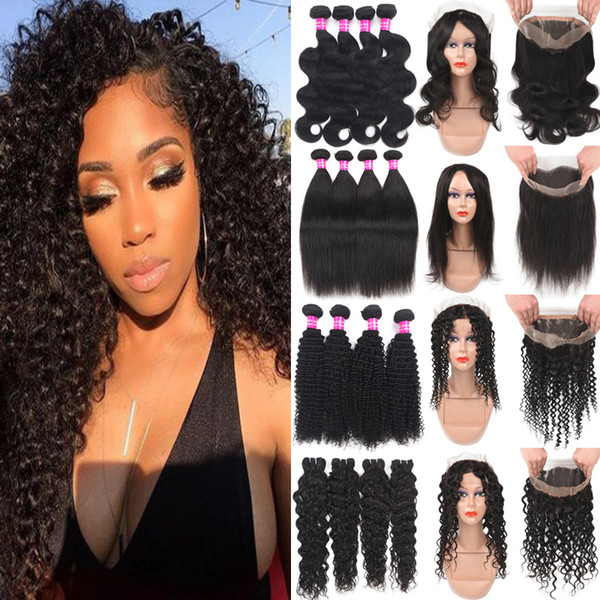 360 Lace Frontal With 3Bundles Brazilian Deep Wave Kinky Curly Virgin Hair With Closure Wet And Wavy Human Hair Wefts With Lace Frontal