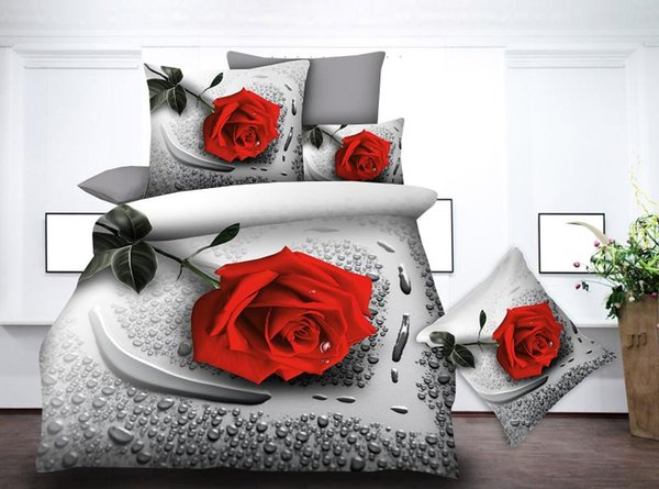 BEST.WENSD Comforter bedding sets reactive printing rose flower 3d bedding set 4pcs bed sheets and pillowcases bed cover sets
