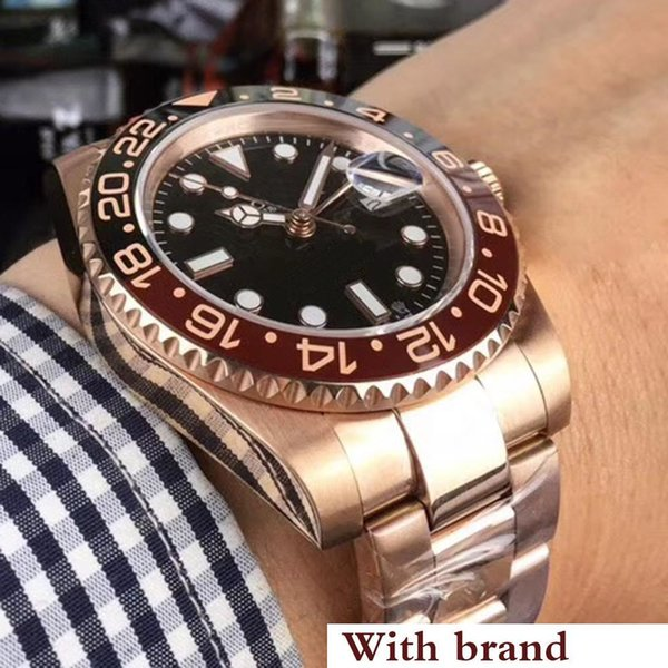 Rose gold GMT2 Listed V3 Version Batman mens watch automatic movement Ceramic Rotating Bezel sapphire glass steel strap wristwatch