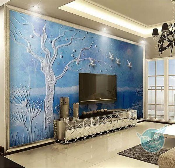 Acheter Taille Sur Mesure Tout Peinture Murale Papier Peint Peinture à L Huile Européenne Lac Des Cygnes Arbre Salon De Fond Tv Intérieure Décoration