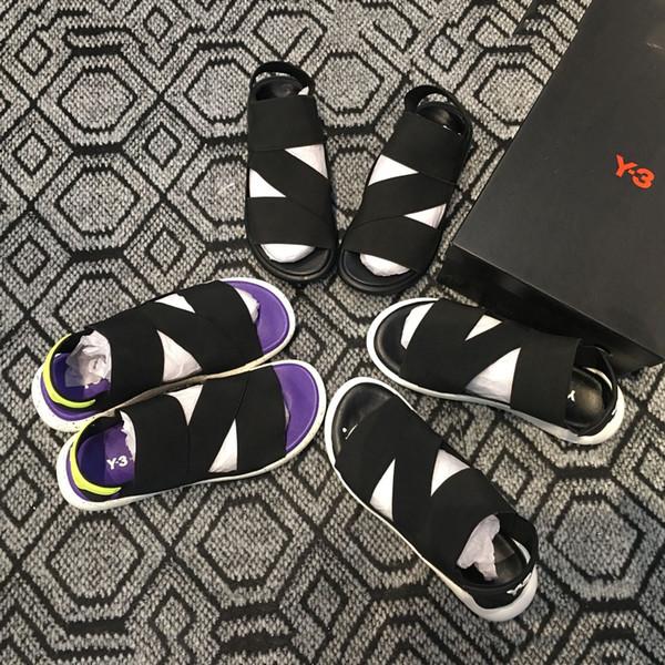 Ucuz Y-3 Bashyo QASA Yüksek Sandalet Sıcak Erkek Kadın siyah beyaz kırmızı Anti-kayma Çabuk kuruyan Açık terlik Yumuşak Su Plaj Sneakers Ayakkabı