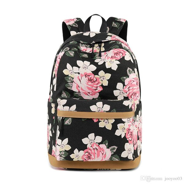 New fashion canvas shoulder bag trendy female flower printing student school bag leisure wear resistant outdoor backpack breathable backpack