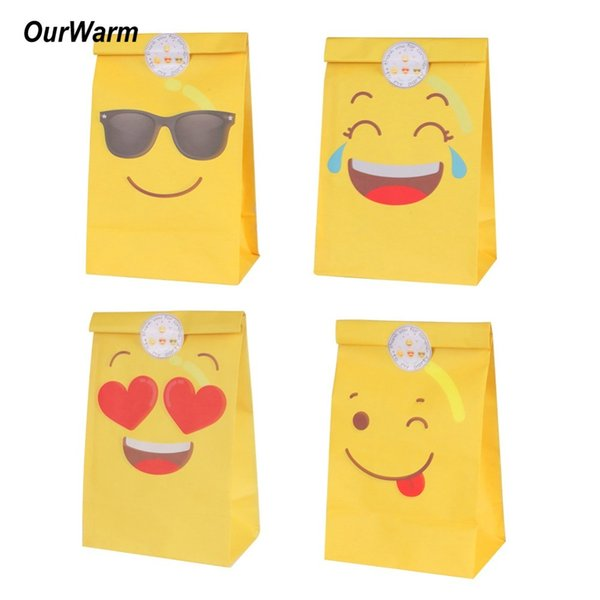OurWarm 12Pcs Emoji Paper Gift Bag Emoji Party Decorations Paper Bags for Candy Birthday Party Supplies with Emoji Stickers C18112701