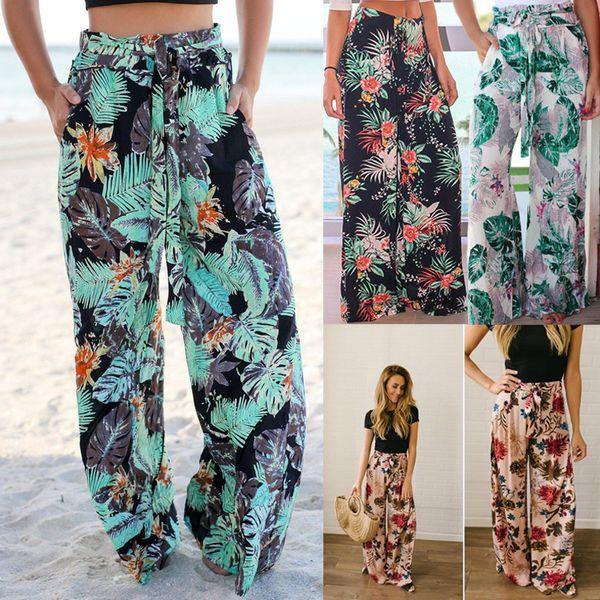 Pantaloni larghi floreali 4 colori Donne con coulisse Allentato fiore stampato Tasca lunga spiaggia pantaloni lunghi LJJO6982