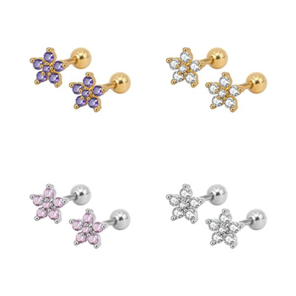 Cubic Zircon Tiny Flower Stud Earring 8 Colors Blue Pink Gold Studs Cartilage Earrings Lip Rings Nails Ear Multicolored CZ fashion Jewelry