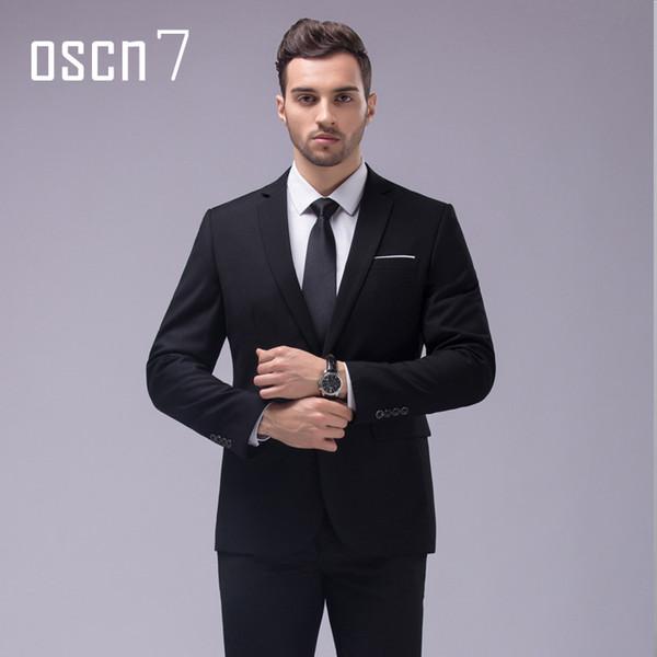 OSCN7 12 Color 2pcs Slim Fit Suits Men Notch Lapel Business Wedding Groom Leisure Tuxedo 2017 Latest Coat Pant Designs S-4XL C19011401