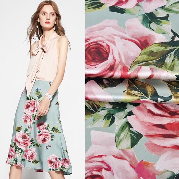 118CM Breite 19MM Pink Rose Print Stretch Grün Grau Seidensatin Gut für Sommerkleid Rock Hemd Hose JH147