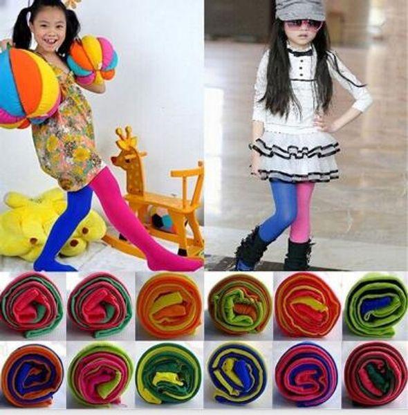 Candy Color Mixed Strumpfhosen für Mädchen Patchwork Baby Mädchen Stretch Hose Dünne Hosen Kinder Dance Strumpfhosen Strumpfhosen Strumpf 3-12Y