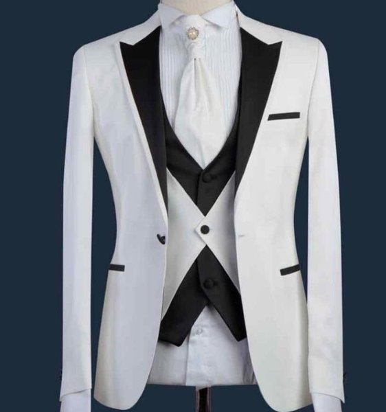 White Black Fashion Terno Masculino Tailor-Made Wedding Prom Party Formal Slim Fit Men Suits (Coat Pant Vest Tie)