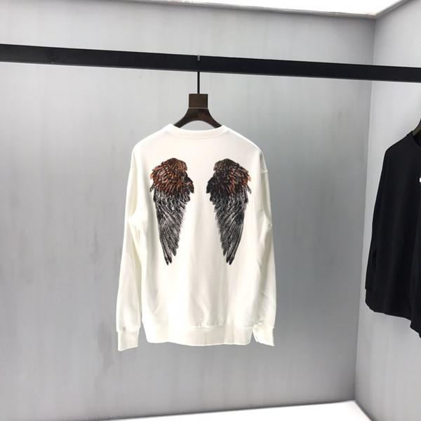 Erkek Hoodies Uzun Kollu Kazak 2019 Kış Katı Renk Kazak Streetwear Ince Melek kanatları elmas Hoodies Erkekler