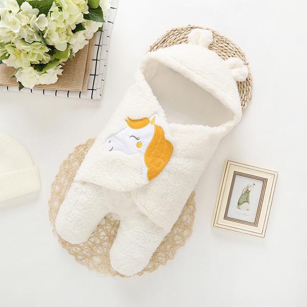 Wholesale Infant Super Soft Autumn Winter Plush Swaddling Clothes Baby Unicorn Cartoon 100% Cotton Baby Warm Blanket Separat feet