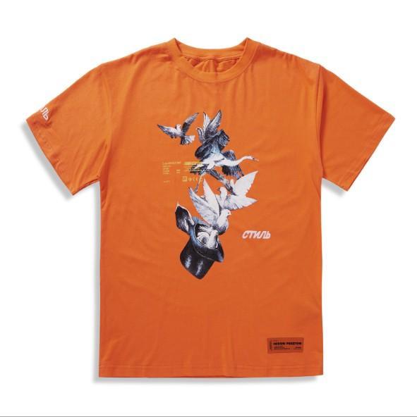 Mens Verão Tshirt CTNnb Manga Curta Em Torno Do Pescoço Moda Estilo Casual Pigeon Impressão Tshirt para Mulheres Preto e Laranja EUR Tamanho S-XL