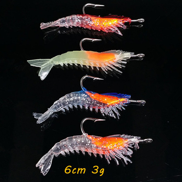best selling 10pcs lot Shrimp Hook Fishing Hooks 4 Color Mixed 6CM 3G Soft Baits & Lures Artificial Bait Pesca Fishing Tackle Accessories KL_40